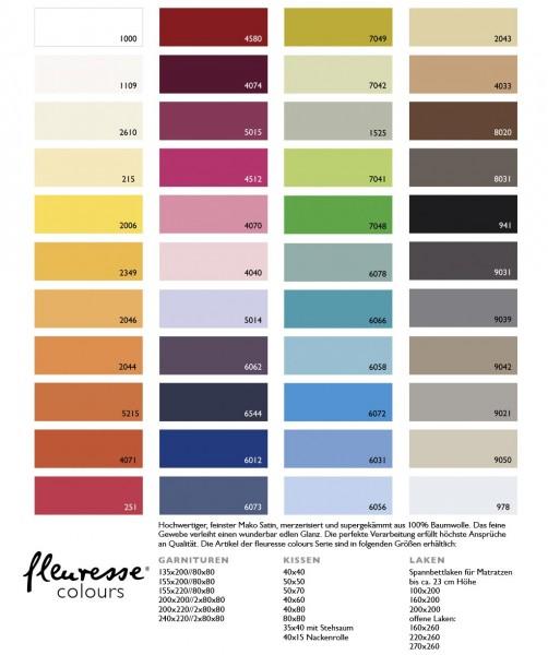 Mako Satin fleuresse colours Spannbettlaken in 40 Farben und 3 Größen