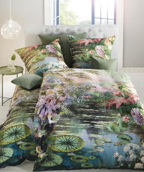 Seerosen Bettwäsche mit Wendeseite grün von fleuresse bed art 200x220