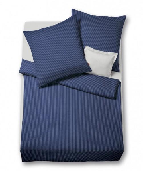 Bügelfreie Bettwäsche blau weiß gestreift aus Baumwolle - Seersucker - von fleuresse rio 155x220