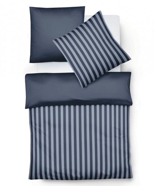 Flanell Wendebettwäsche blau weiß gestreift von fleuresse lech 155x200