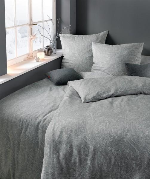 graue Bettwäsche aus Flanell mit Paisley Muster von fleuresse lech 200x220