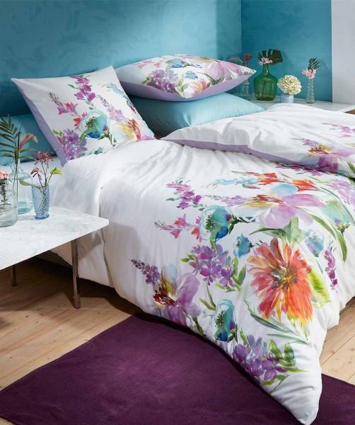 Luxus Blumenbettwäsche mit Wende - Mako Satin von fleuresse bed art Lavendel 200x200