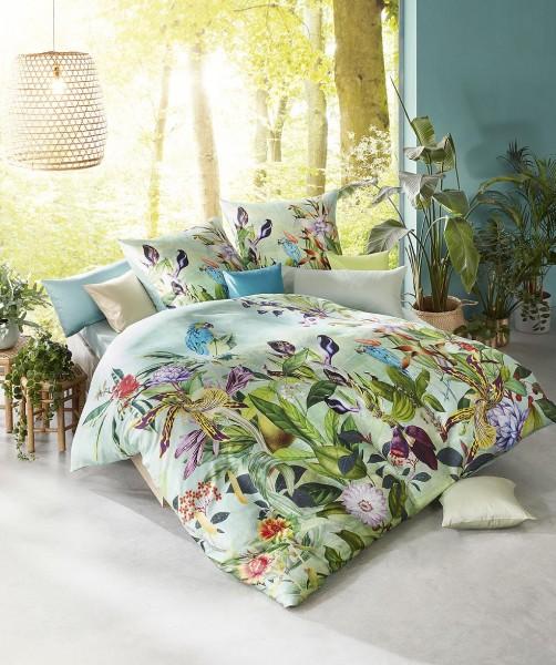 Designer Blumen Bettwäsche mit Vögel und Wendeseite von fleuresse bed art in Grün 135x200