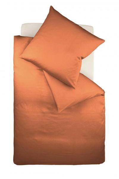 fleuresse colours Mako Satin uni Bettwäsche terra orange