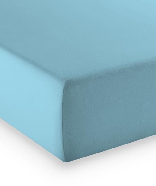 Premium Jersey fleuresse comfort Bettlaken aqua blau