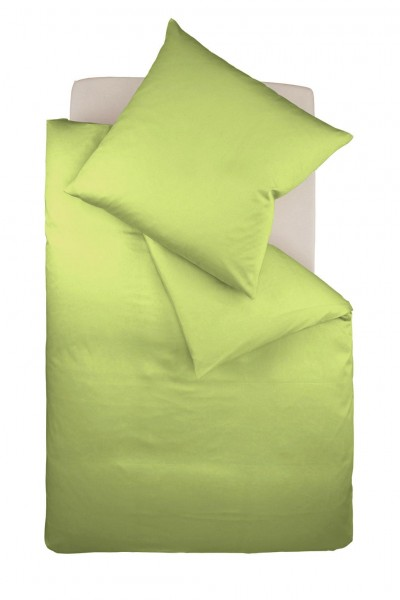 fleuresse colours Mako Satin uni Bettwäsche apfel grün