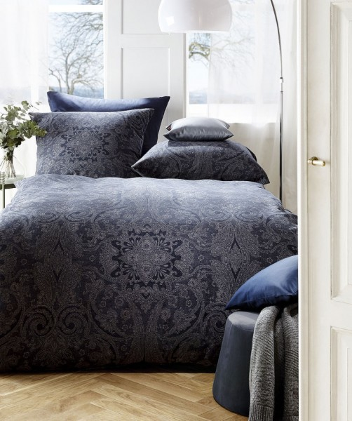 Blaue Jacquard Flanell Bettwäsche Ornament-Muster von fleuresse lech 135x200