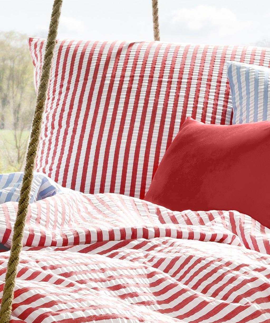 Rot Weiß Gestreifte Seersucker Bettwäsche Bügelfrei 135x200 Von