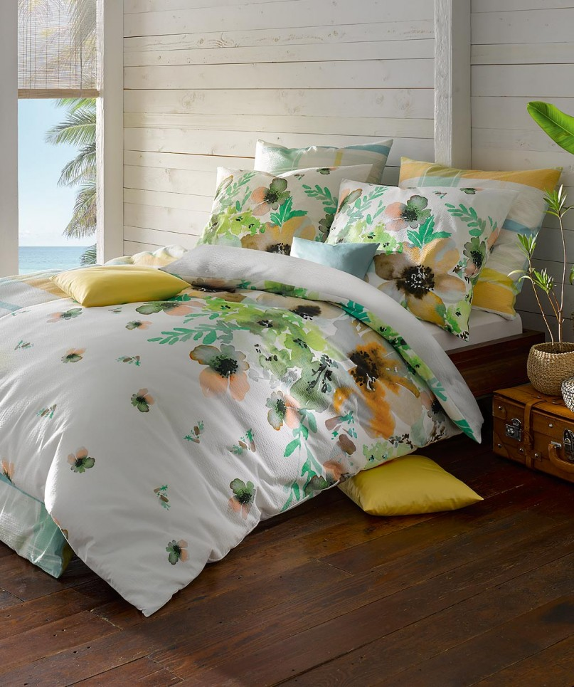 Bügelfreie Seersucker Bettwäsche Blumen Grün 155x220 Von