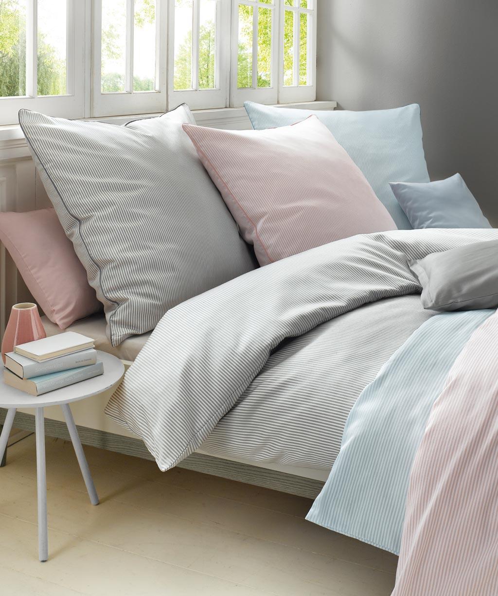 Streifenbettwäsche Blau Weiß 200x220 Mako Satin Bettwäsche