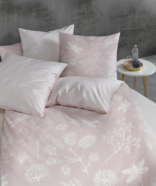 XXL Wendebettwäsche Mako Satin mit rosa Blumenmuster von fleuresse modern garden 240x220