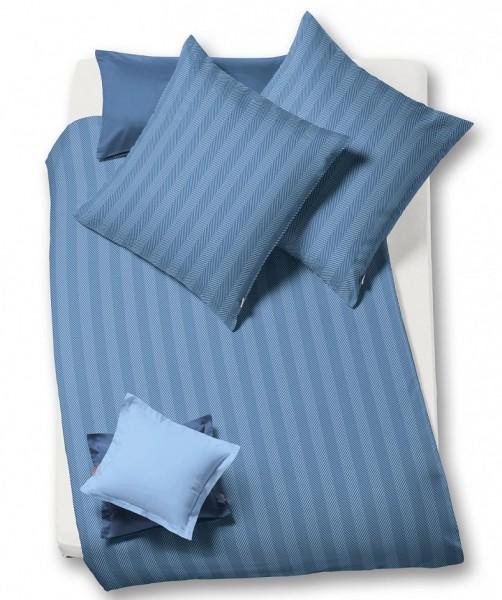 lech - einfarbige Flanell Bettwäsche von fleuresse blau indigo 135x200