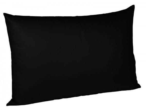Bügelfreier Jerseybezug für Kissen fleuresse uni schwarz