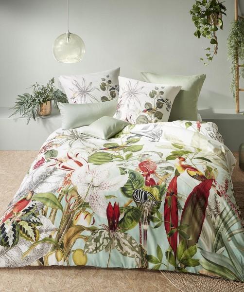 Moderne Blumen Bettwäsche mit Vögel und Wendeseite von fleuresse bed art in Grün 200x220