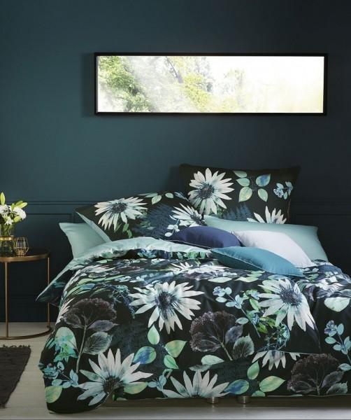 Luxus Blumen Wendebettwäsche von fleuresse bed art in Aqua Petrol 135x200
