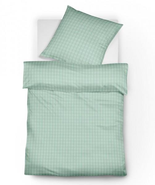 Sommer Bettwäsche aus Batist mit Satin Karo in Jade Grün von fleuresse Heidelberg mit Reißverschluss