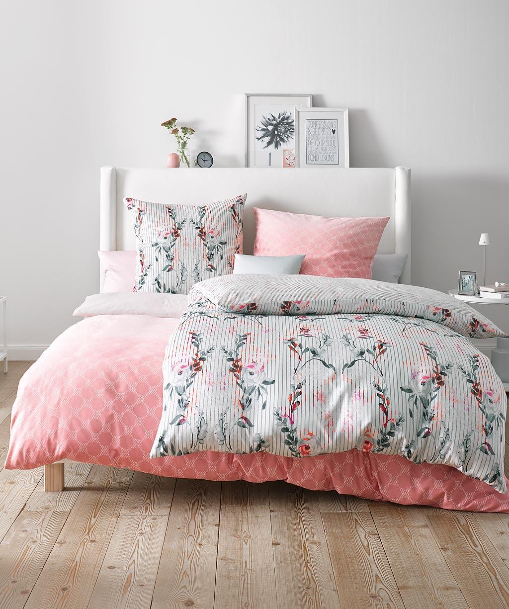 Grafische Bettwäsche Mako Satin Rosa 155x200 Fleuresse Reduziert