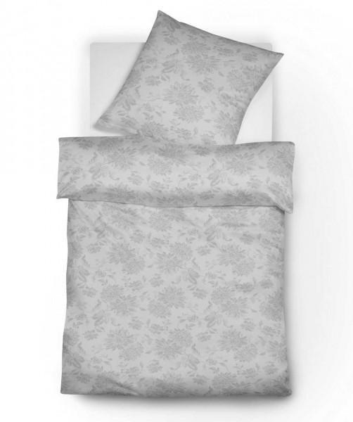 Jacquard Flanell Bettwäsche grau mit Blumenmuster von fleuresse lech 200x200