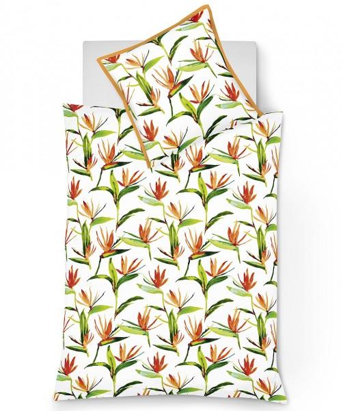 Mako Satin Blumen Bettwäsche mit Stehsaum in Orange von fleuresse modern garden 135x200