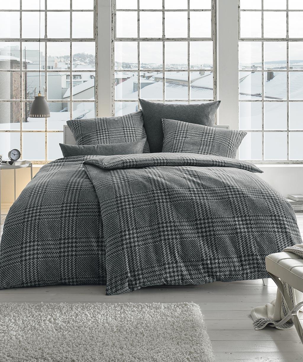 schwarz wei karierte flanell bettw sche fleuresse lech in. Black Bedroom Furniture Sets. Home Design Ideas
