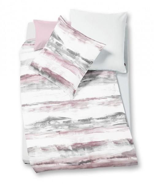 Streifen Bettwäsche mit Wendeseite von fleuresse bed art rosa weiß 155x220
