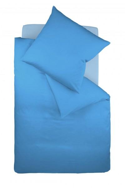 fleuresse colours Mako Satin uni Bettwäsche meeres blau