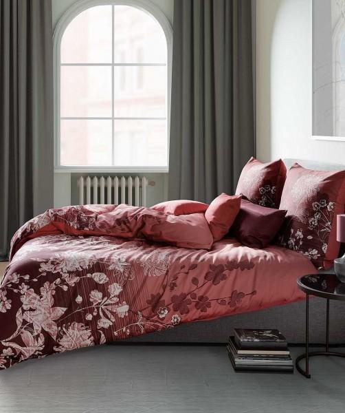 Moderne Blumen Bettwäsche mit Wendeseite von fleuresse bed art in Rot Weiß 200x220