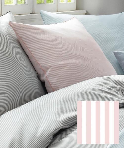 3-teilige MakoSatin Bettwäsche mit rosa Nadelstreifen mit Paspel von fleuresse modern life 200x220