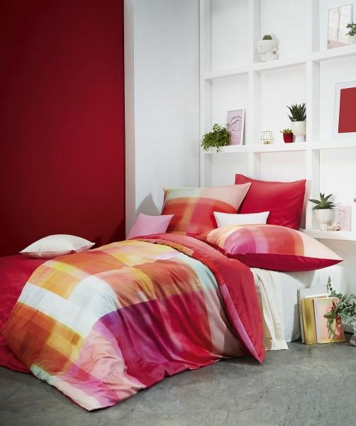 Designer Bettwäsche kariert mit Wendeseite von fleuresse bed art in Rot 135x200