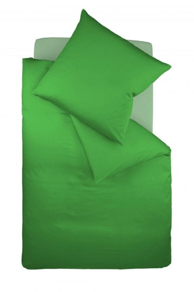 fleuresse colours Mako Satin uni Bettwäsche gras grün