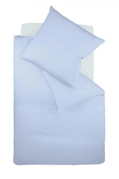 Bügelfreie Bettwäsche Jersey fleuresse uni - bleu hellblau