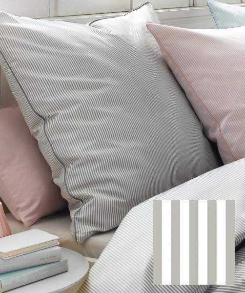 Graue MakoSatin Bettwäsche mit Streifenmuster + Paspel von fleuresse modern life 200x220