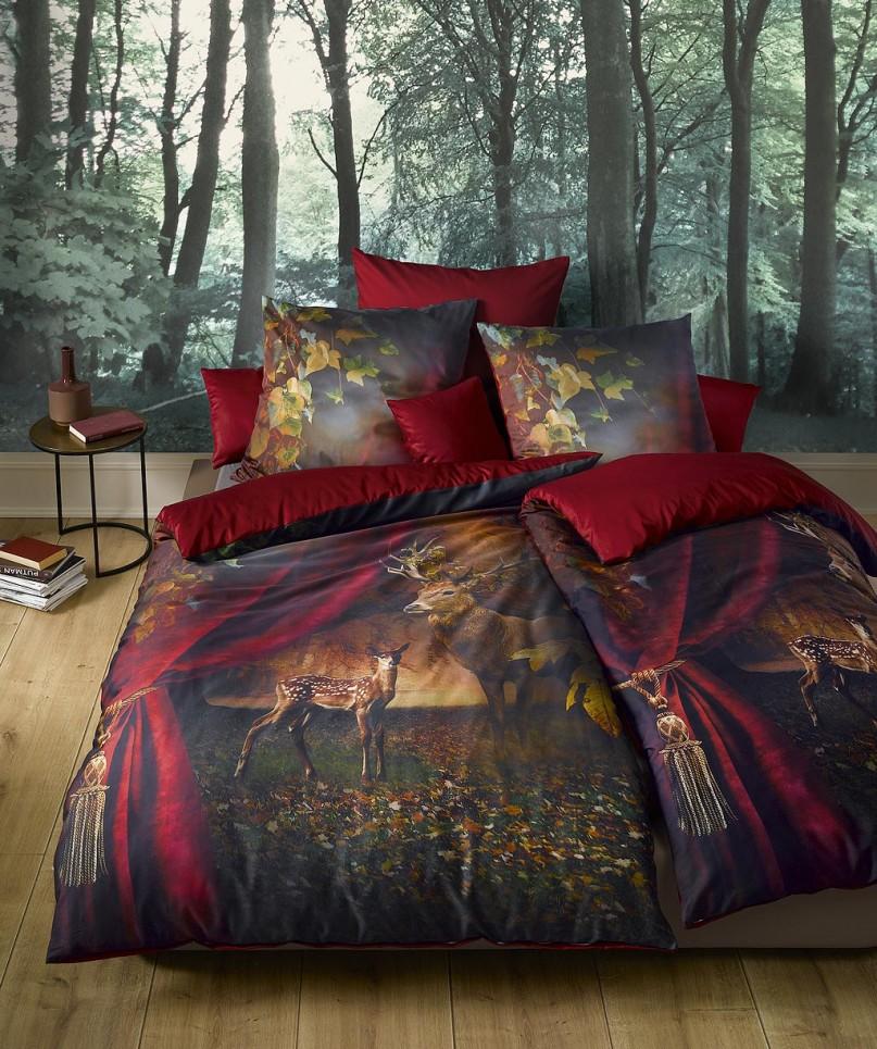 Exklusive Hirsch Bettwäsche Fotodruck mit Wende von fleuresse bed art in Rot 135x200