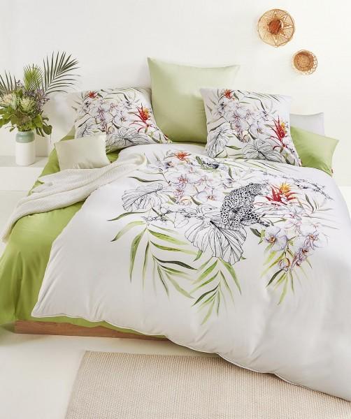 Moderne Blumen Bettwäsche mit Leopard und Wendeseite von fleuresse bed art in Schwarz-Weiß 135x200