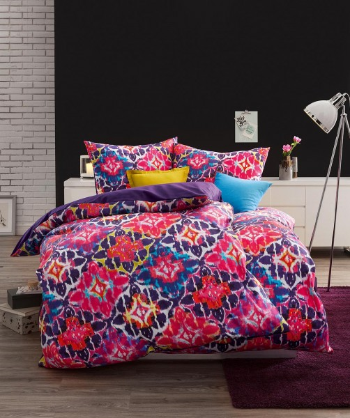 fleuresse bed art Wendebettwäsche grafische Blumen pink graipfruit 155x200