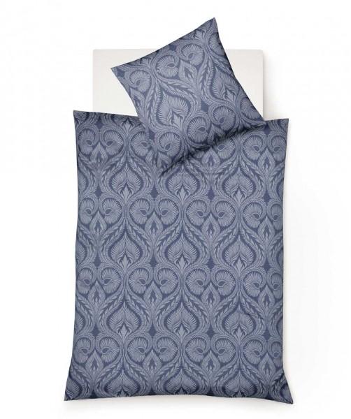 Hochwertige Jacquard Flanell Bettwäsche mit blauen Ornamenten von fleuresse lech 155x220