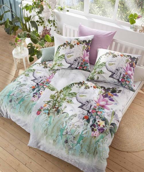 3-teilige Luxus Bettwäsche mit Elefant im Dschungel von fleuresse bed art in Grün 240x220