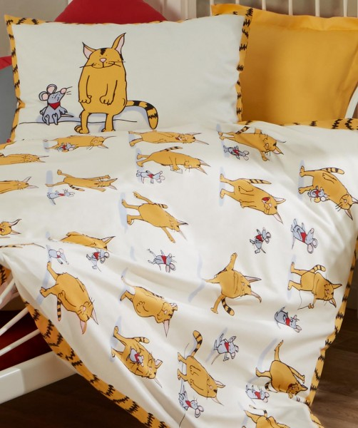 fleuresse kids Gunga Katzenbettwäsche in Kindergröße Gelb 100x135