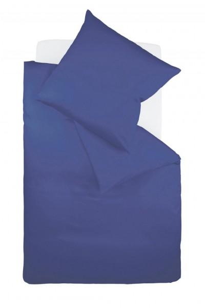 fleuresse colours Mako Satin uni Bettwäsche royal blau