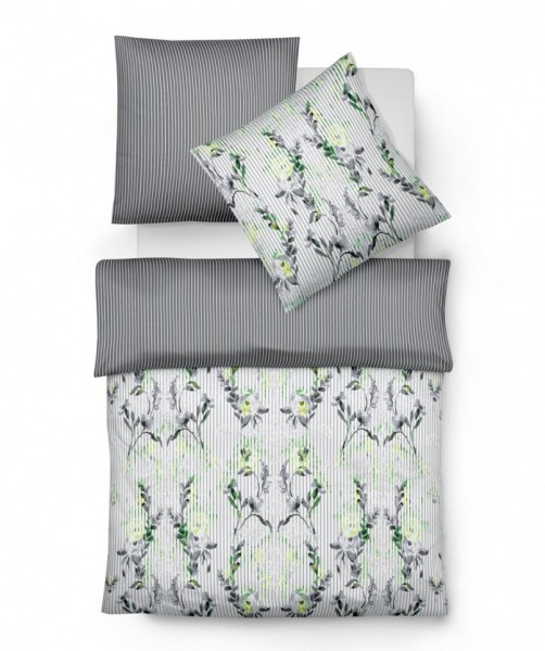 Designer Ornament Wendebettwäsche von fleuresse bed art grau limette 155x220