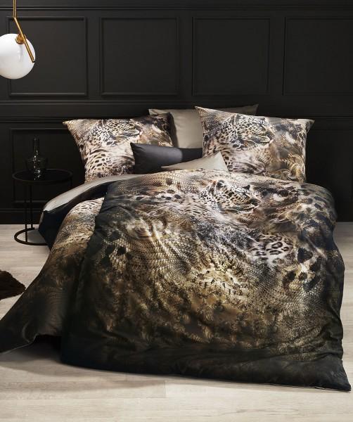 Luxus Wendebettwäsche mit Leoprint von fleuresse bed art in Grau Beige 135x200