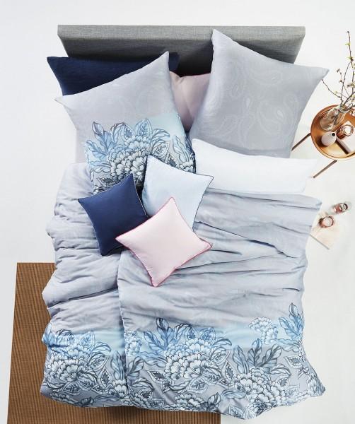 fleuresse modern classic Bettwäsche mit eleganten Blüten in Blau Grau 155x220