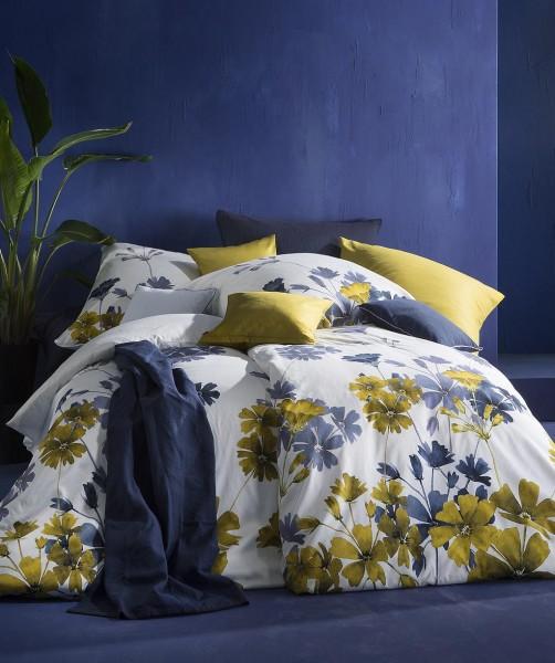 Exklusive Blumen Bettwäsche In Blau Weiß Gelb Mit Wende Von