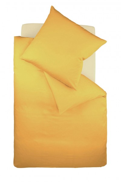 fleuresse colours Mako Satin uni Bettwäsche sonne gelb