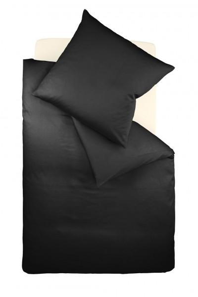 Bügelfreie Jerseybettwäsche einfarbig fleuresse schwarz