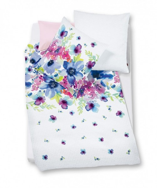 bali Seersucker Bettwäsche Blumenmuster blau von fleuresse 135x200
