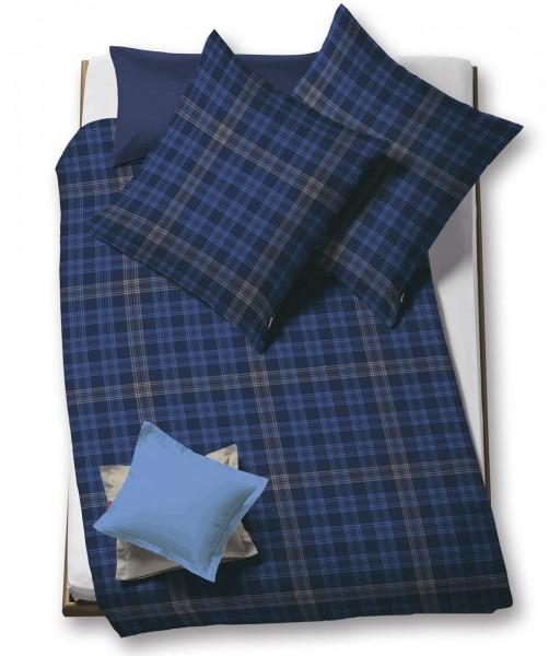 lech - Flanellbettwäsche blau kariert von fleuresse 155x220