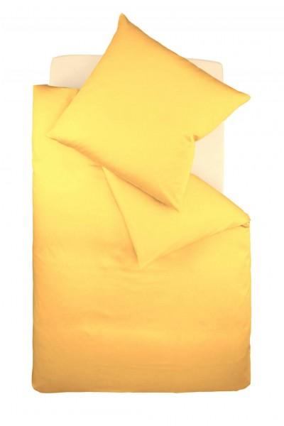 fleuresse colours Mako Satin uni Bettwäsche zitrone gelb
