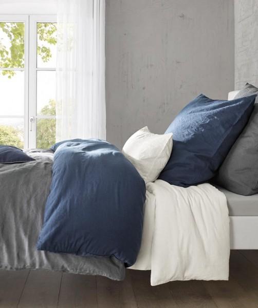 Marine blaue Leinenbettwäsche und Kissenbezug von fleuresse provence