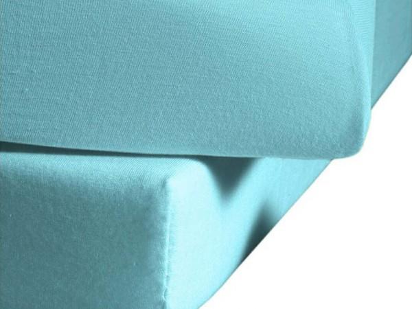 Mako Satin fleuresse colours Spannbettlaken aqua blau